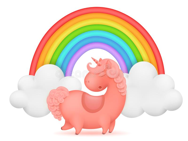 Plantilla de la tarjeta de la invitación del arco iris del personaje de dibujos animados del unicornio stock de ilustración