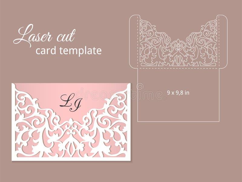 Plantilla de la tarjeta de la invitación del corte del laser stock de ilustración