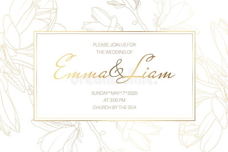 Plantilla de la tarjeta de la invitación del evento de la boda de la boda Flores del jardín de la magnolia de la primavera Dibujo libre illustration
