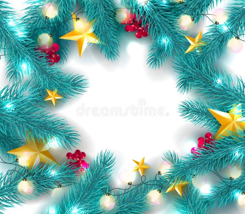 Plantilla de la tarjeta de Navidad con las ramas del abeto, el serbal, las estrellas del oro y la guirnalda en el fondo blanco Co stock de ilustración
