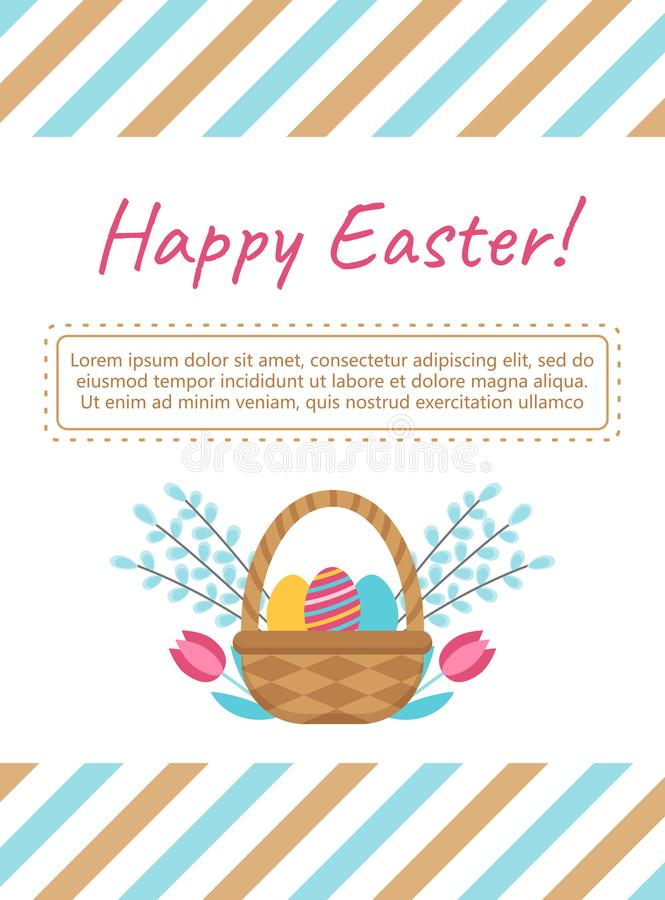 Plantilla de la tarjeta de pascua con la cesta y los huevos stock de ilustración
