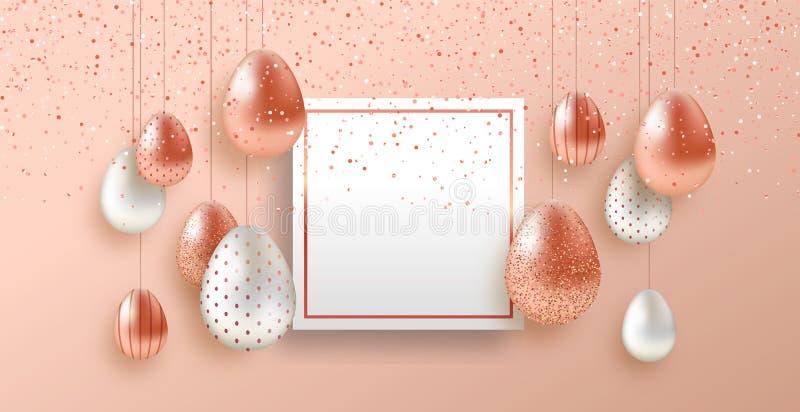 Plantilla de la tarjeta de pascua con los huevos de lujo del cobre del rosa ilustración del vector