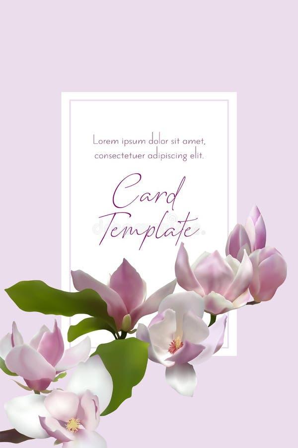 Plantilla de la tarjeta de la rama de la magnolia Flor de la flor del árbol stock de ilustración
