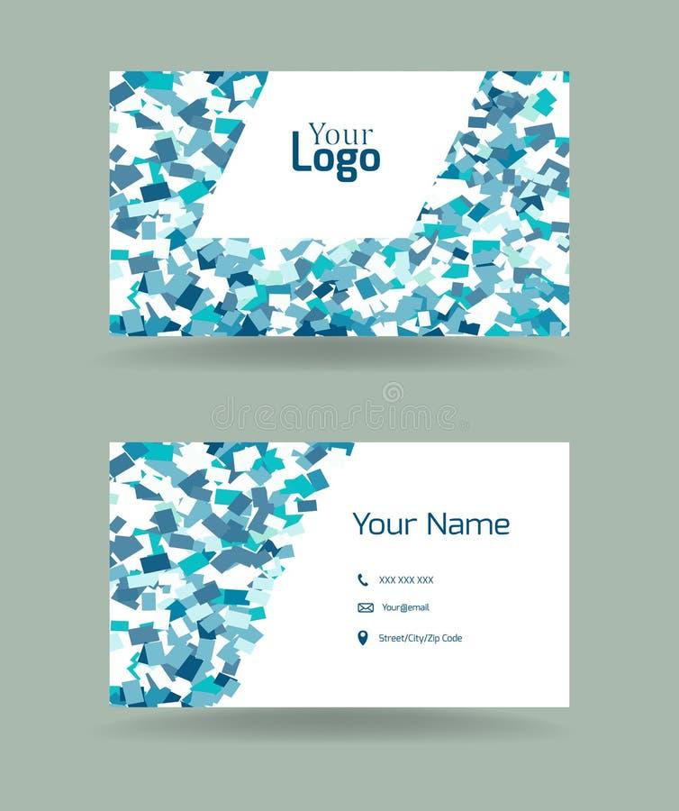 Plantilla de la tarjeta de visita con el modelo azul de los rectángulos libre illustration
