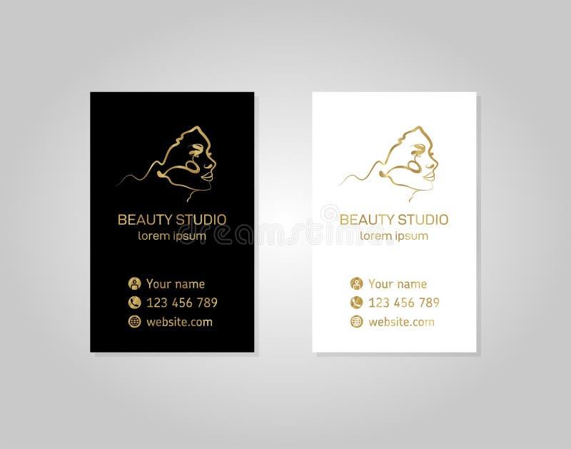 Plantilla de la tarjeta de visita con una muchacha hermosa en el estilo del esquema Línea del estilo del oro de Minimalistic ilustración del vector