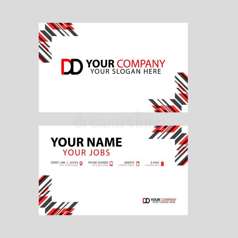 Plantilla de la tarjeta de visita en negro y rojo con un diseño plano y horizontal más la letra del logotipo de la DD en la parte ilustración del vector