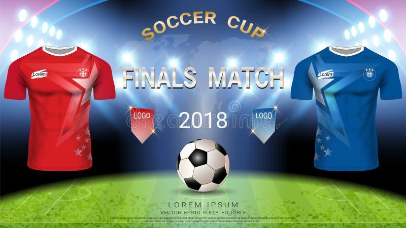 2018 plantilla de la taza del fútbol del campeonato del mundo, concepto partido-que gana final stock de ilustración