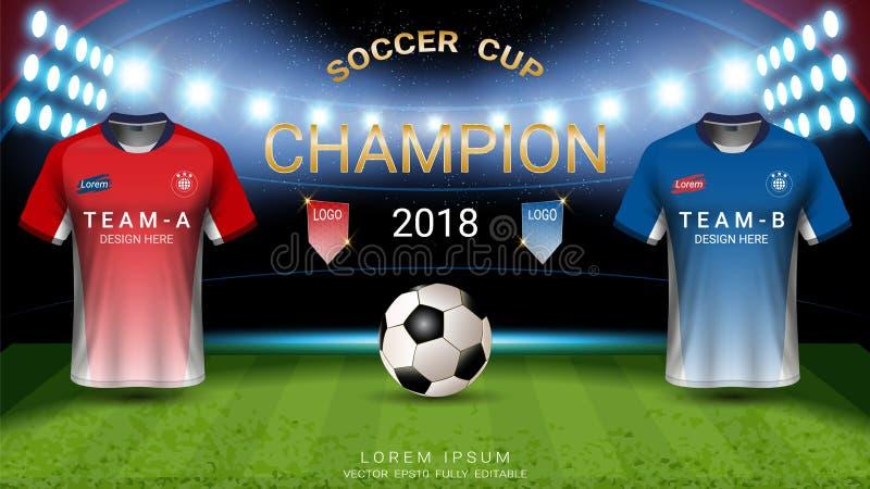 2018 plantilla de la taza del fútbol del campeonato del mundo, concepto partido-que gana final de los campeones stock de ilustración