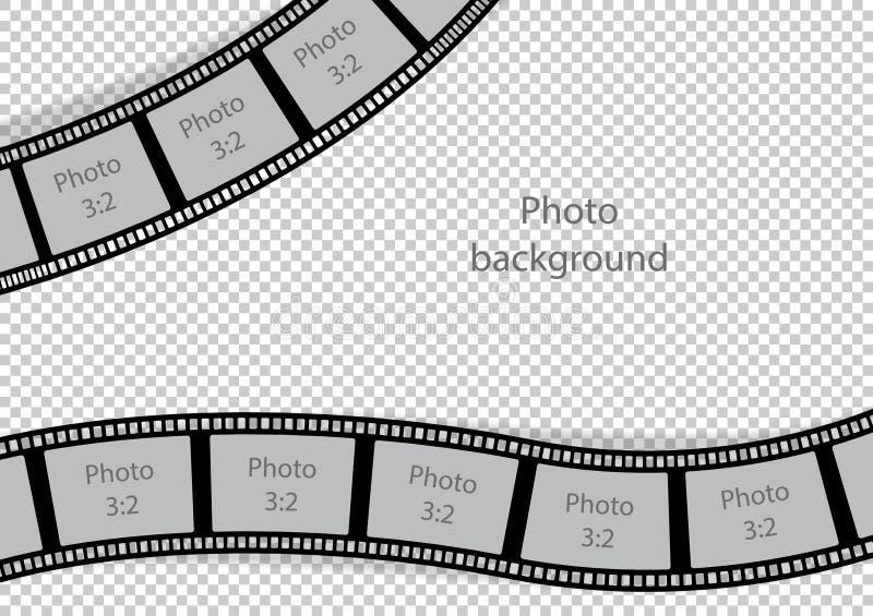Plantilla de la tira de la película del remolino de los marcos de la foto del vintage ilustración del vector