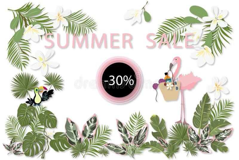 Plantilla de la venta del verano para el cartel, bandera, postal stock de ilustración