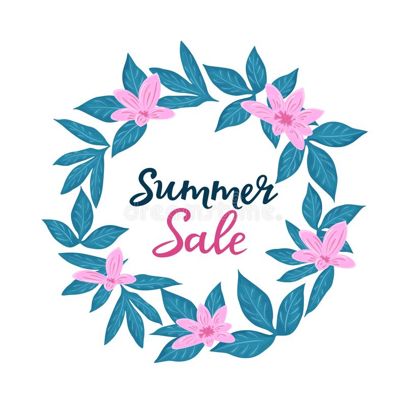 Plantilla de la venta del verano para los descuentos estacionales Carteles florales o diseño de la bandera con las flores libre illustration