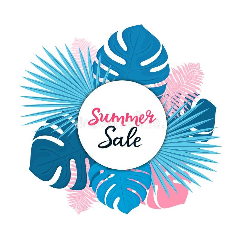 Plantilla de la venta del verano para los descuentos estacionales Carteles florales o diseño de la bandera con con las hojas de l stock de ilustración