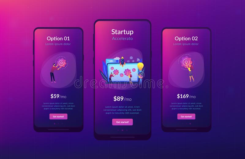 Plantilla de lanzamiento del interfaz del app del acelerador libre illustration