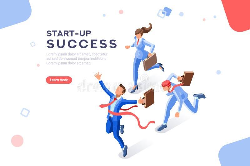 Plantilla de lanzamiento del web del concepto de la tecnología del éxito stock de ilustración