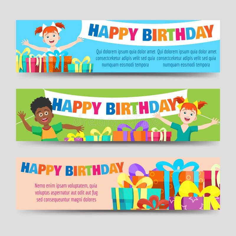 Plantilla de las banderas del cumpleaños ilustración del vector