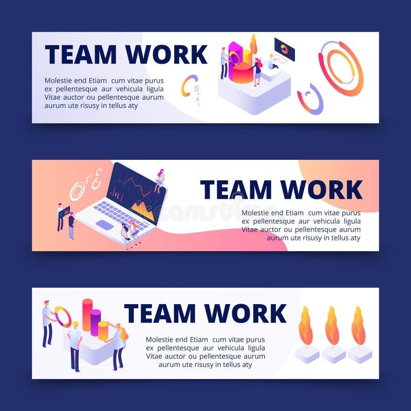 Plantilla de las banderas del vector del trabajo del equipo con la gente isométrica ilustración del vector