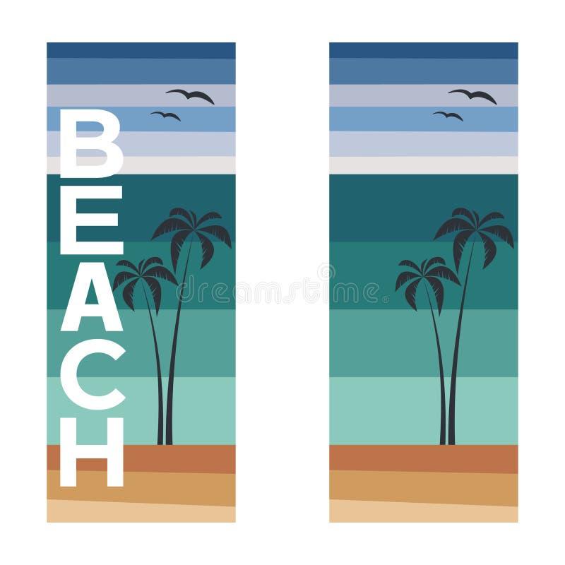 Plantilla de las banderas del verano con las palmas y la playa del texto - ejemplo del vector stock de ilustración