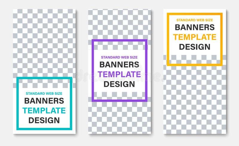 Plantilla de las banderas verticales blancas de la web con el lugar para los marcos de la foto y del color para el título stock de ilustración