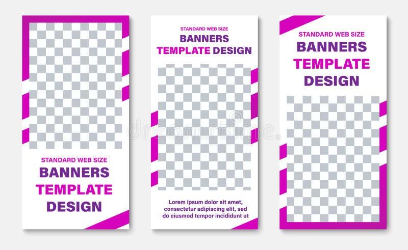 Plantilla de las banderas verticales blancas de la web con el rectángulo para las fotos y las líneas diagonales púrpuras ilustración del vector