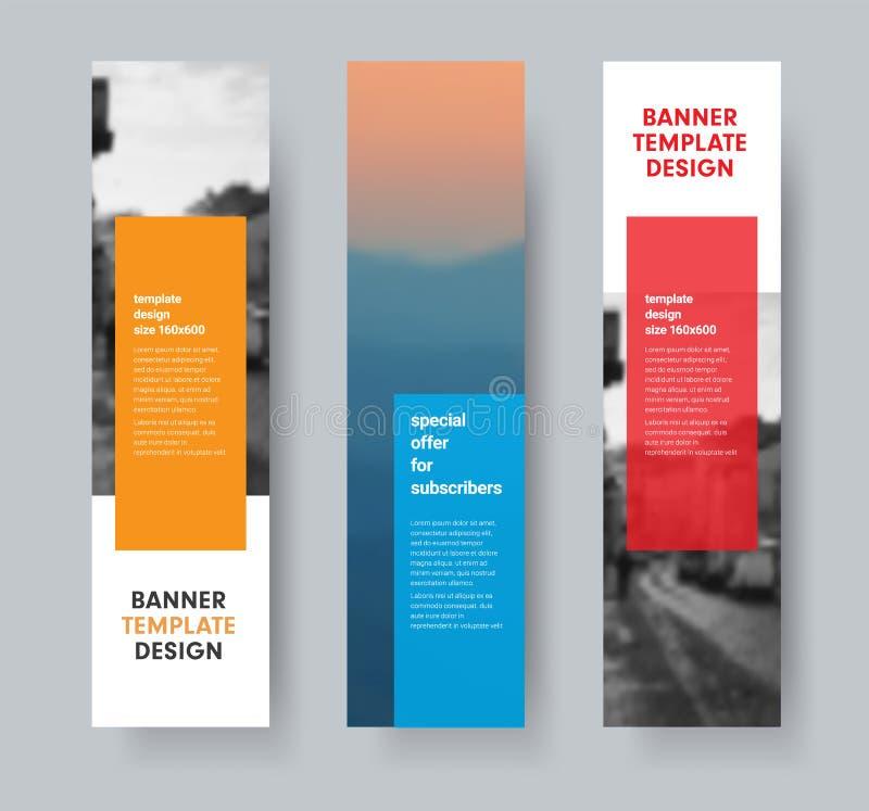 Plantilla de las banderas verticales del vector con los dados coloreados transparentes para el texto y el lugar para la foto libre illustration