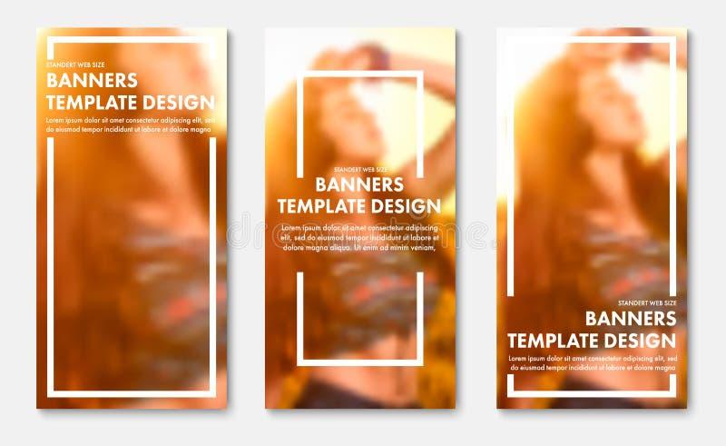 Plantilla de las banderas verticales de la web del vector con el marco y el lugar blancos para la foto stock de ilustración