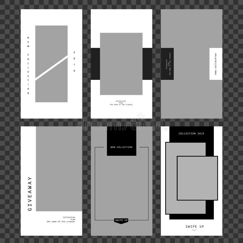Plantilla de las historias Fije el marco de la foto Maqueta para la foto aislada en backgroun transparente ilustración del vector