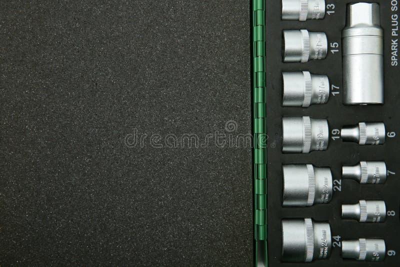 Plantilla de las llaves de zócalo en un caso con gomaespuma con el espacio de la copia imagen de archivo libre de regalías
