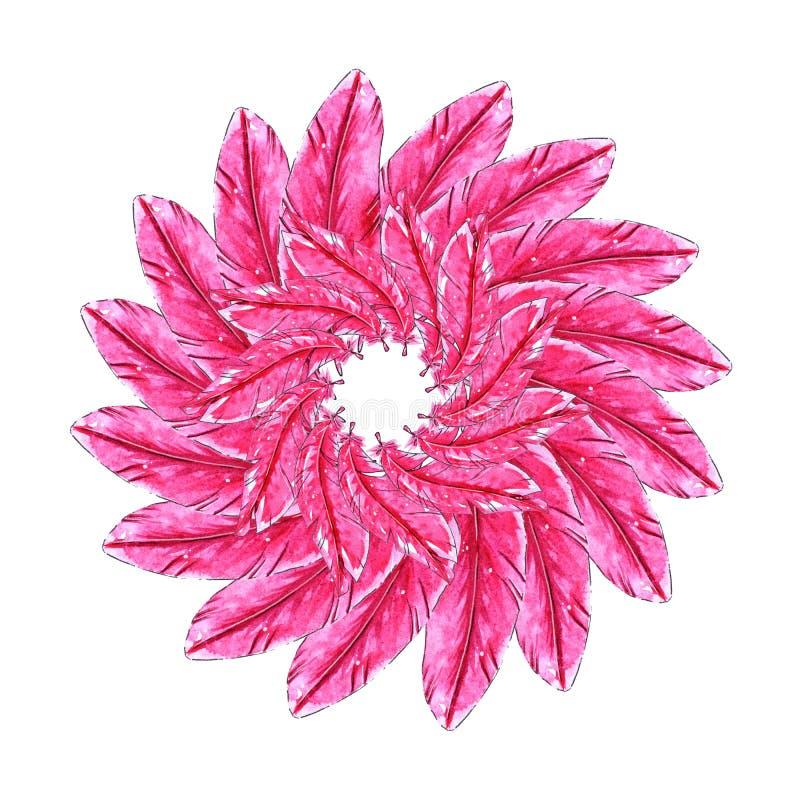 Plantilla de las plumas de la acuarela en estilo de la flor ilustración del vector