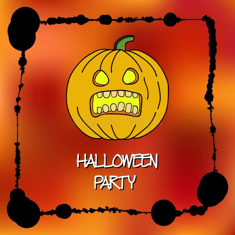 Plantilla de las tarjetas de la acción para el partido de Halloween Calabaza del dibujo de la mano Marco de la salpicadura Inscri libre illustration