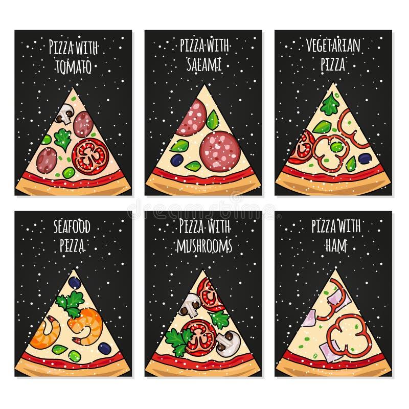 Plantilla de las tarjetas de la pizza Tarjetas de la pizza del día de fiesta para el menú del partido stock de ilustración