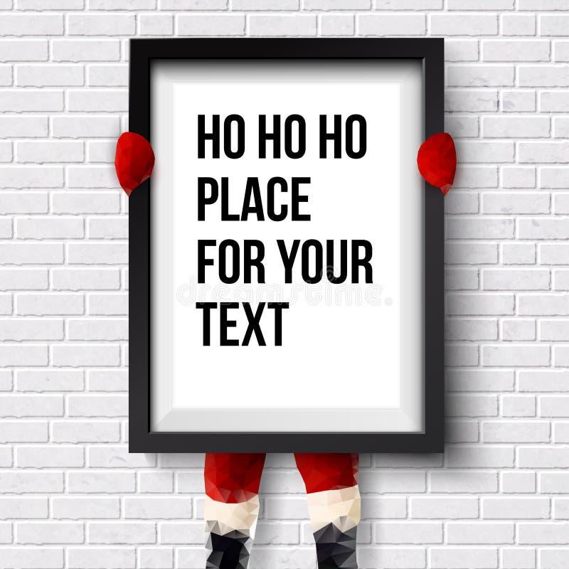 Plantilla de las vacaciones de invierno Papá Noel está llevando a cabo un marco ilustración del vector