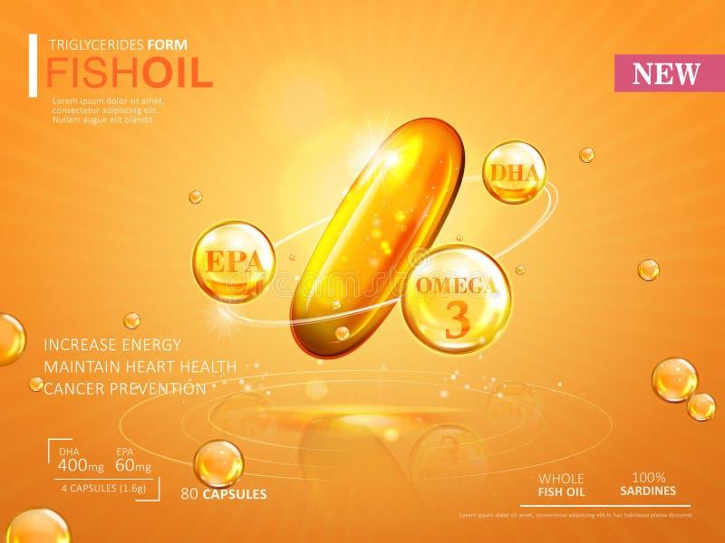 Plantilla de los anuncios del aceite de pescado libre illustration