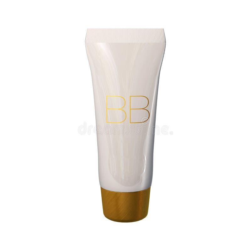Plantilla de los anuncios del tubo de la fundación, maqueta poner crema de la botella del bb Ejemplo de la tinta 3D de la piel foto de archivo libre de regalías