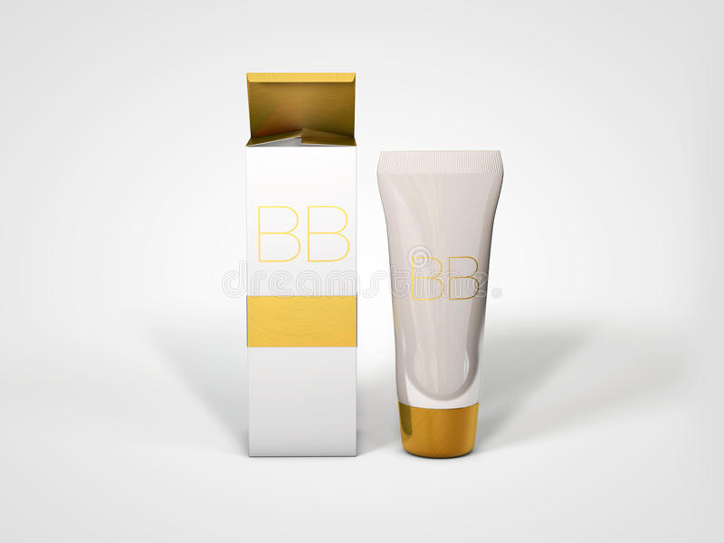 Plantilla de los anuncios del tubo de la fundación, maqueta poner crema de la botella del bb Ejemplo de la tinta 3D de la piel stock de ilustración