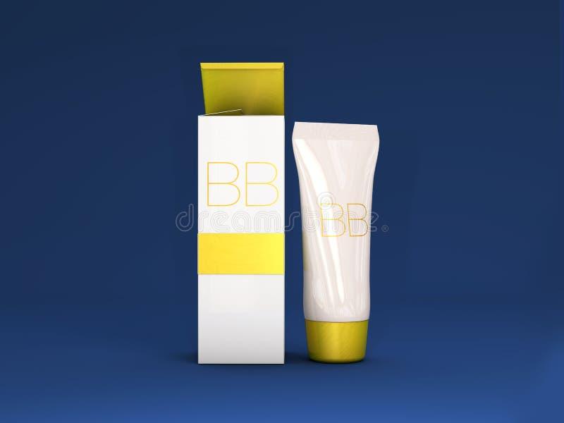 Plantilla de los anuncios del tubo de la fundación, maqueta poner crema de la botella del bb Ejemplo de la tinta 3D de la piel libre illustration