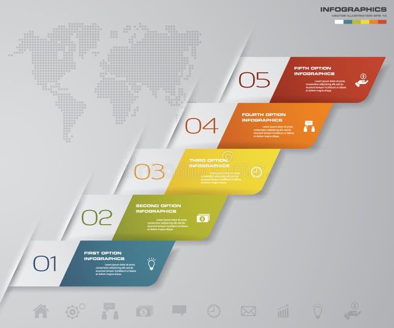 Plantilla de los diagramas de carta de los pasos de Simple&Editable 5/gráfico o disposición del sitio web Vector libre illustration