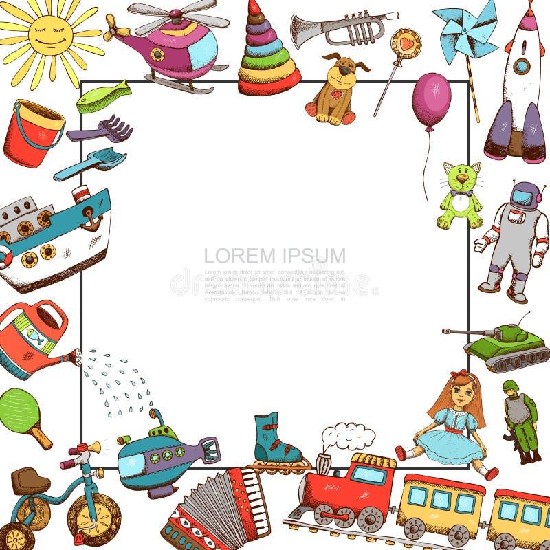 Plantilla de los juguetes del bosquejo stock de ilustración