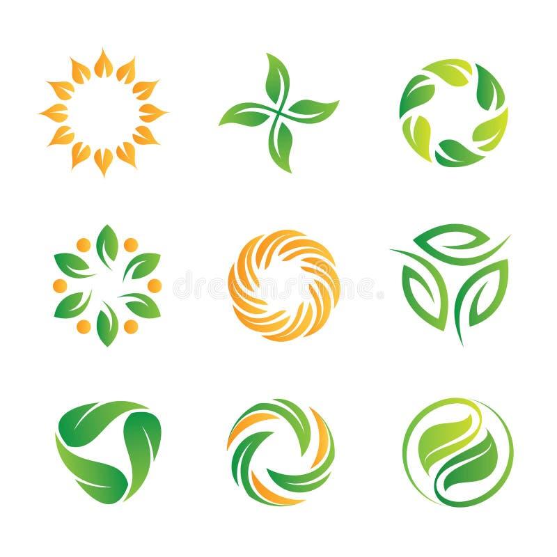 Plantilla de los logotipos y de los iconos del lazo de la naturaleza ilustración del vector