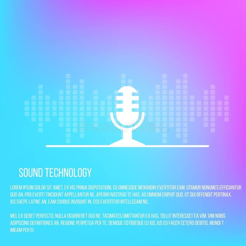 Plantilla de los servicios de la registración sana con el micrófono y la forma de onda stock de ilustración