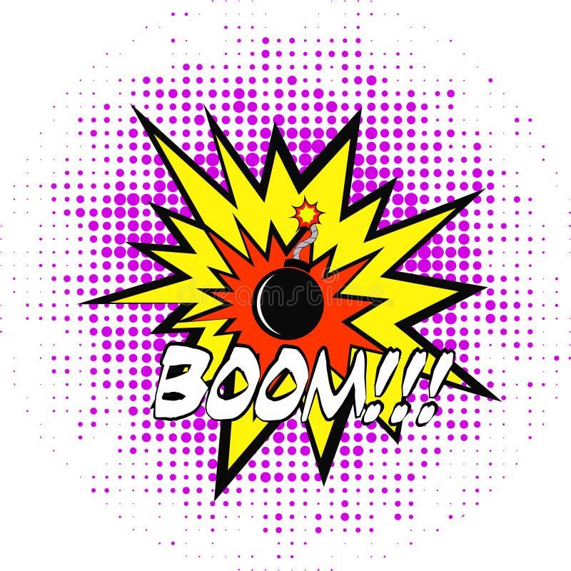 Plantilla de los tebeos Ejemplo retro de las burbujas del discurso del cómic del vector Maqueta de la página del cómic con el lug stock de ilustración