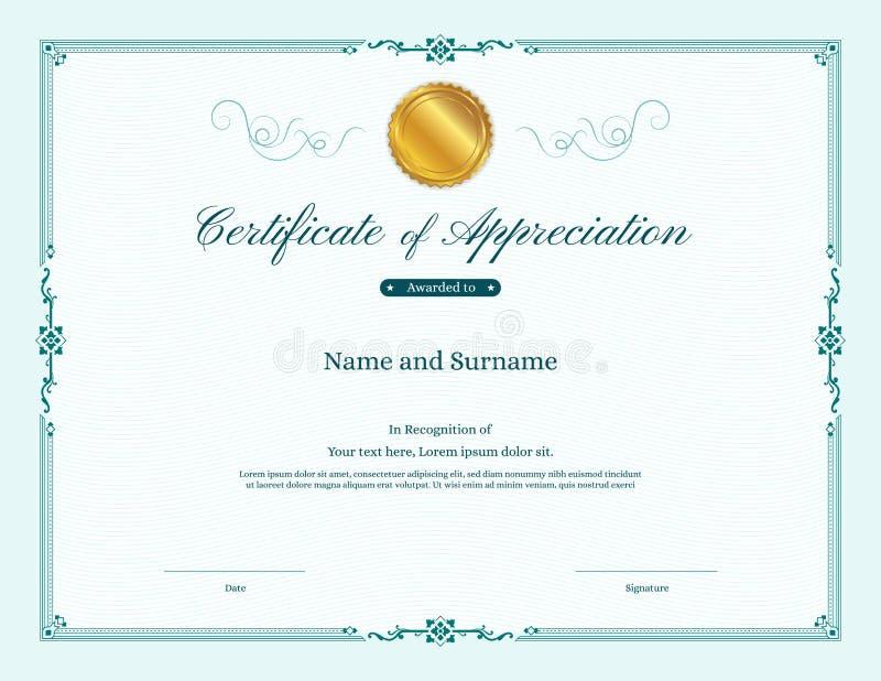 Plantilla de lujo del certificado con el marco elegante de la frontera stock de ilustración