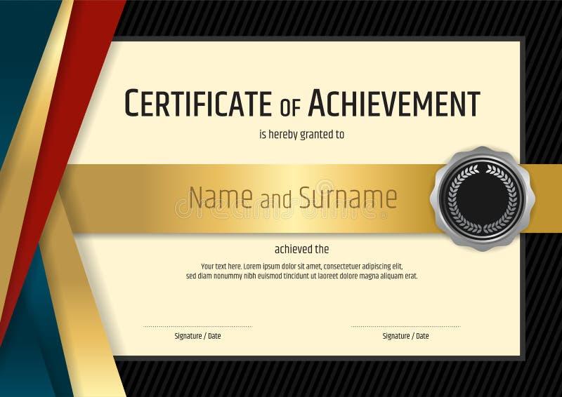 Plantilla de lujo del certificado con la frontera negra y de oro elegante stock de ilustración
