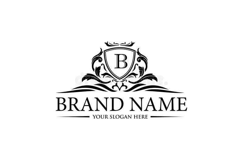 Plantilla de lujo del logotipo en el vector para el restaurante, derechos, boutique, café, hotel, heráldico, joyería ilustración del vector