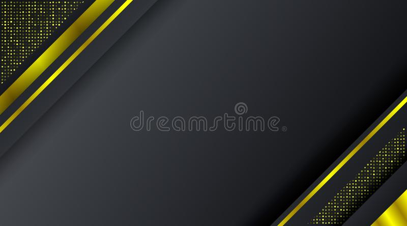 Plantilla de lujo elegante del fondo del diseño del oro que brilla intensamente de la tecnología negra abstracta del marco libre illustration