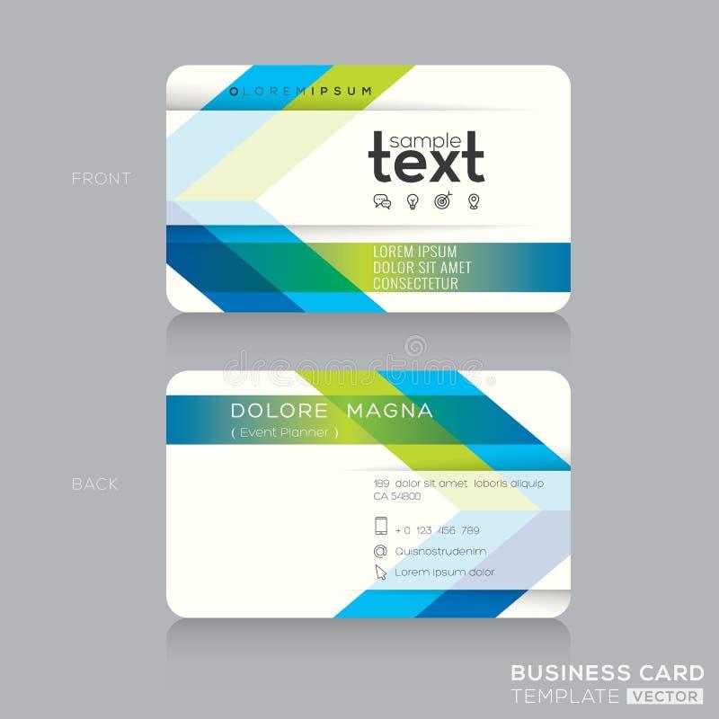 Plantilla de moda de la tarjeta de visita con el fondo verde y azul de la flecha stock de ilustración