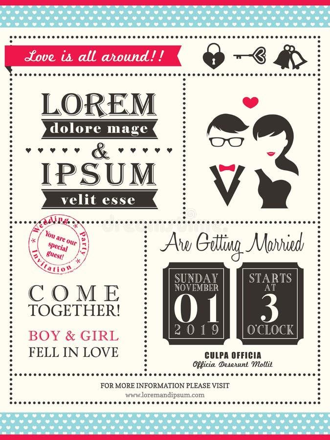 Plantilla de moda retra de la tarjeta de la invitación de la boda stock de ilustración