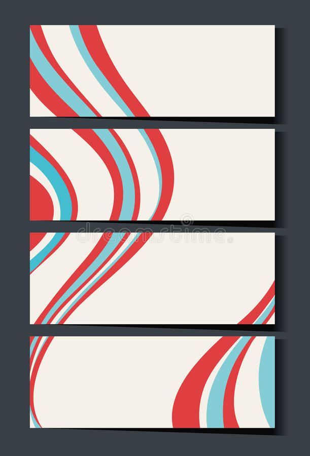 Plantilla de Namecard con las ondas rojas y del azul stock de ilustración