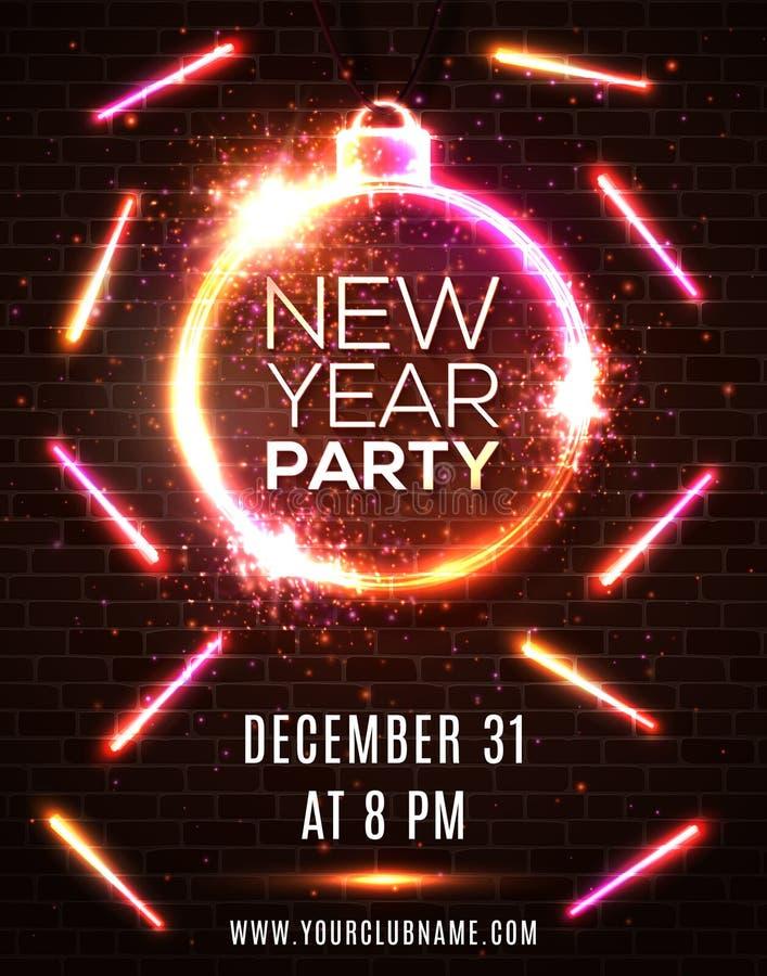Plantilla de neón del cartel de la celebración del partido del Año Nuevo libre illustration
