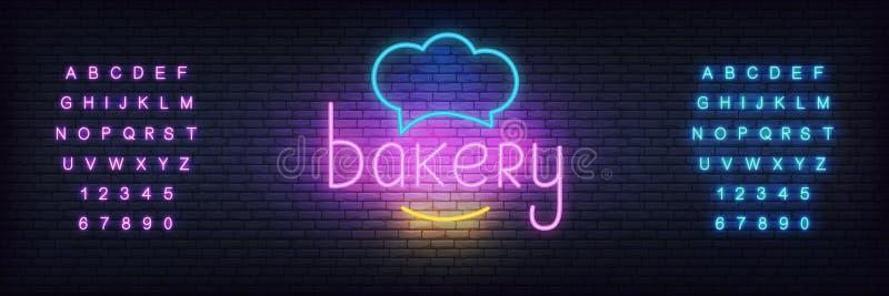 Plantilla de neón del vector de la panadería Brillando intensamente que pone letras a la muestra para cueza la tienda, café ilustración del vector