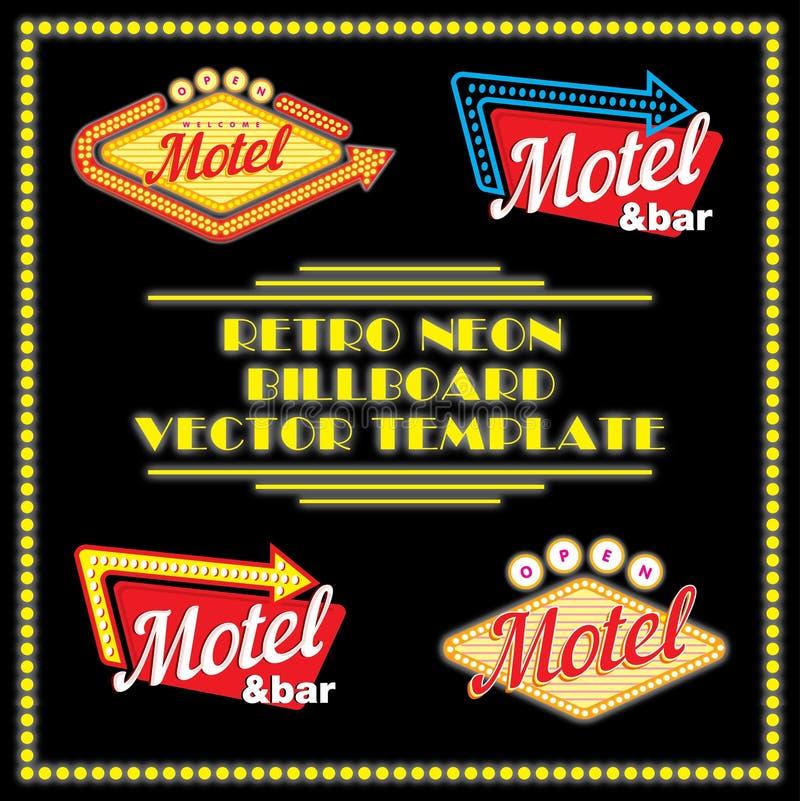 Plantilla de neón retra del vector de la cartelera del motel libre illustration